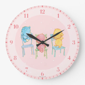 Yellow, Pink, and Blue Bears on Chairs Wall Clock