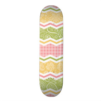 Yellow Pink and Green Cute Country Patterns Skateboards