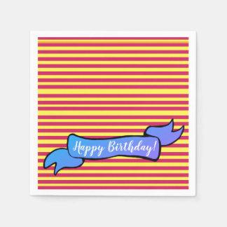 Yellow & Pink Birthday  Napkins