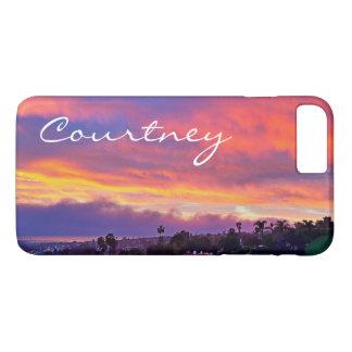 Yellow pink blue clouds sunrise photo custom name Case-Mate iPhone case