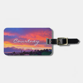 Yellow pink blue clouds sunrise photo custom name luggage tag