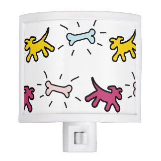 Yellow Pink Dogs Bones Graffiti Style NightLight Night Light