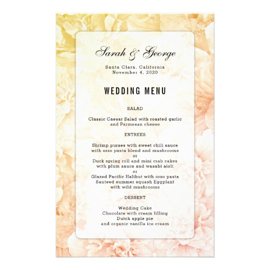 Yellow Pink Floral Background Custom Wedding Menu