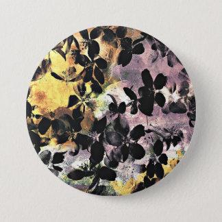 Yellow pink flower pattern floral digital art 3 inch round button
