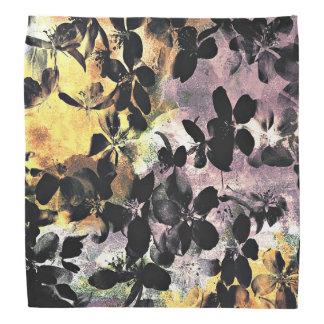 Yellow pink flower pattern floral digital art bandana