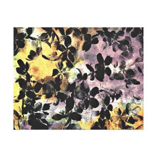 Yellow pink flower pattern floral digital art canvas print