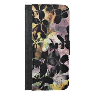Yellow pink flower pattern floral digital art iPhone 6/6s plus wallet case