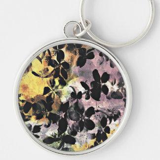 Yellow pink flower pattern floral digital art keychain