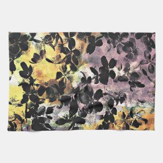 Yellow pink flower pattern floral digital art kitchen towels