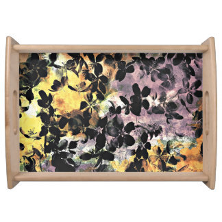 Yellow pink flower pattern floral digital art serving tray