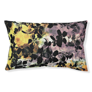 Yellow pink flower pattern floral digital art small dog bed