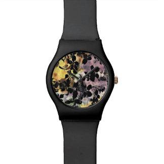 Yellow pink flower pattern floral digital art watch