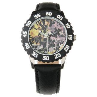 Yellow pink flower pattern floral digital art wristwatch