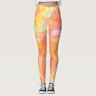 Yellow Pink Geometric Leggings