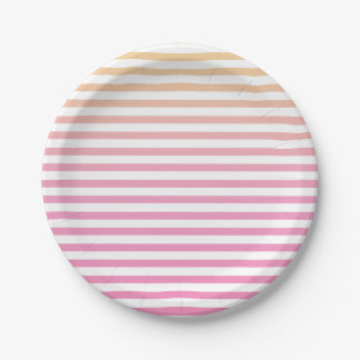 Yellow Pink Gradient Striped Paper Plate