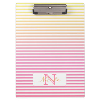 Yellow Pink Gradient Stripes Monogram Clipboard