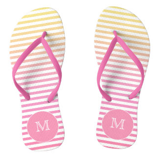Yellow Pink Gradient Stripes Monogram Flip Flops