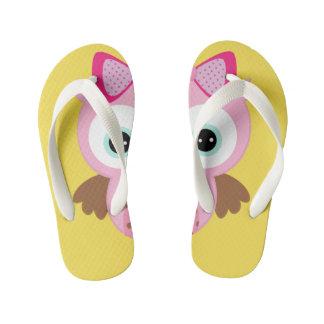 Yellow & Pink Owl Flip Flops