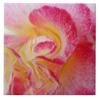 yellow pink petals ceramic tile
