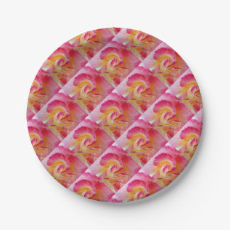 yellow pink petals paper plate