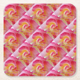 yellow pink petals square paper coaster