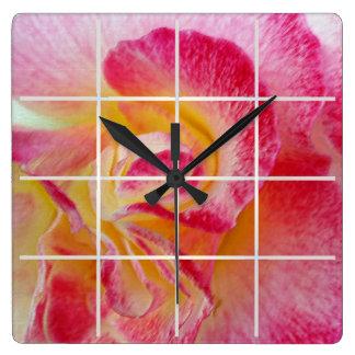 yellow pink petals square wall clock