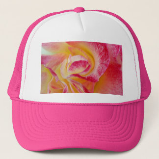 yellow pink petals trucker hat