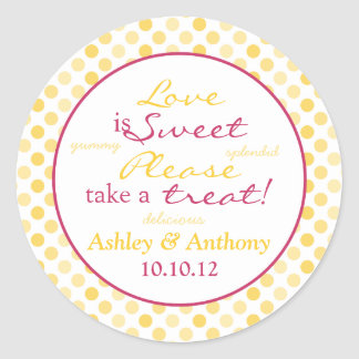 Yellow Pink Polka Dot Candy Buffet Stickers