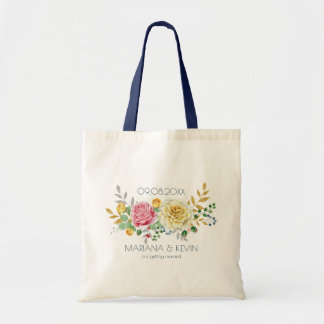 Yellow & Pink Rose Flowers Bouquet Tote Bag