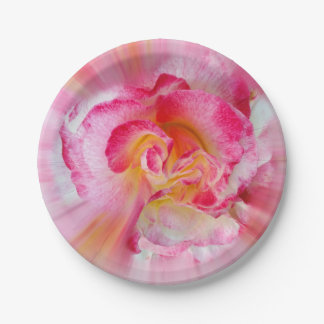 yellow pink Rose Paper Plate