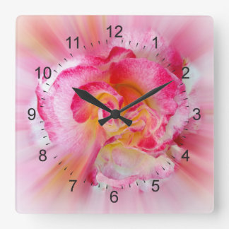 yellow pink Rose Square Wall Clock