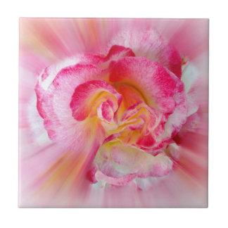 yellow pink Rose Tile