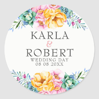 Yellow & Pink Roses Floral Wedding Bouquet Classic Round Sticker