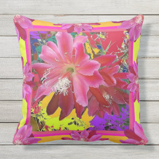 Yellow-Pink Tropical Cacti Flowers  Abstract Outdoor Pillow