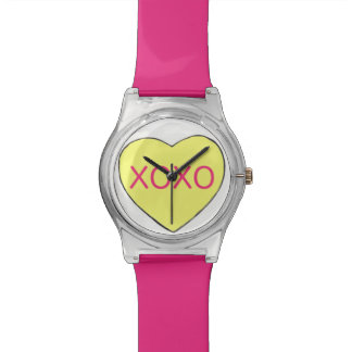 Yellow Pink XOXO Candy Heart Valentine Love Watch