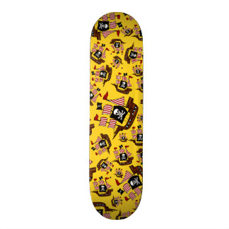 Yellow pirate ship pattern skate boards