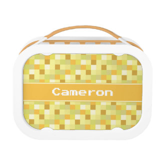 Yellow Pixelated Pattern | Personalized Lunchboxes