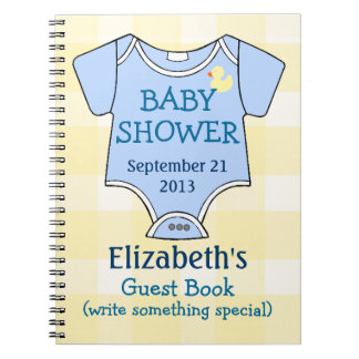 Yellow Plaid and Blue Baby Shower Guest Book