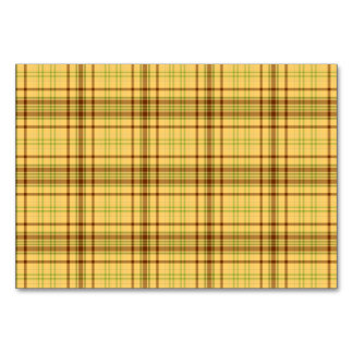 Yellow plaid design table card