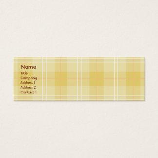 Yellow Plaid - Skinny Mini Business Card