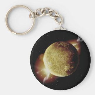 yellow planet 3d illustration in universe basic round button keychain