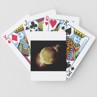 yellow planet 3d illustration in universe bicycle playing cards