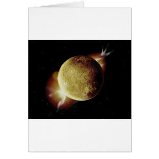 yellow planet 3d illustration in universe card