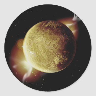yellow planet 3d illustration in universe classic round sticker