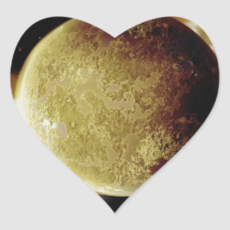 yellow planet 3d illustration in universe heart sticker