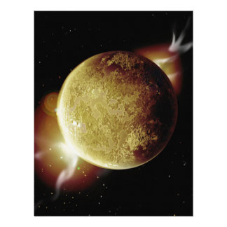yellow planet 3d illustration in universe letterhead