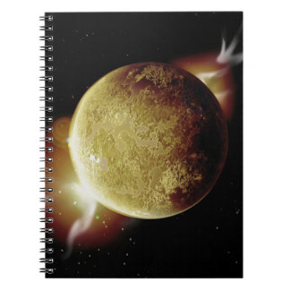 yellow planet 3d illustration in universe notebook