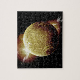 yellow planet 3d illustration in universe puzzles