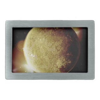 yellow planet 3d illustration in universe rectangular belt buckle