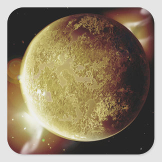yellow planet 3d illustration in universe square sticker
